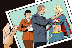 Beautiful girl superhero awarded a medal. Stock illustration. Stock Image