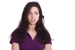 Beautiful girl from support with headset Royalty Free Stock Photography