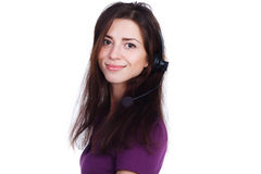 Beautiful girl from support with headset Stock Images
