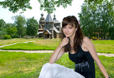 Beautiful girl in Suzdal city Royalty Free Stock Photography