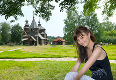 Beautiful girl in Suzdal city Stock Image