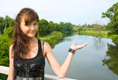 Beautiful girl in Suzdal city stock images