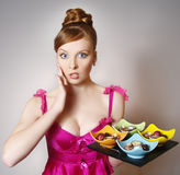 Beautiful girl with sweets Royalty Free Stock Photos