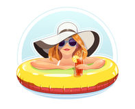 Beautiful girl swim with rubber circle Stock Image