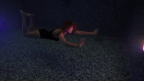 Beautiful girl swim underwater into night waterpool with lights. Dark Night. Beauty young woman submerged under water in swimming pool with lights. Underwater stock video footage