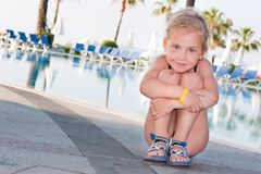 Beautiful girl at the swimming pool Royalty Free Stock Photography
