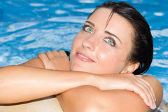Beautiful girl at swimming pool. Outdoor Stock Photos