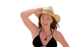 Beautiful girl in a swimsuit. Isolated on white background Royalty Free Stock Photo