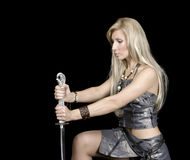 Beautiful girl with sword Stock Images