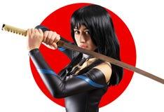 Beautiful girl with sword Stock Photos