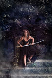 Beautiful girl with a sword Royalty Free Stock Photo