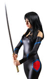 Beautiful girl with sword. On white background Stock Photography