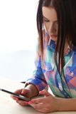 Beautiful girl with tablet Stock Photos