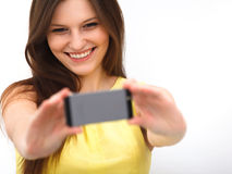 Beautiful girl taken taking selfie self-portrait with camera pho Royalty Free Stock Images