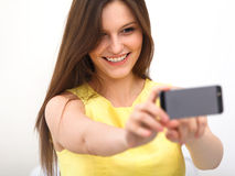 Beautiful girl taken taking selfie self-portrait with pho Royalty Free Stock Images