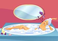 Beautiful girl taking a bath with foam Royalty Free Stock Image