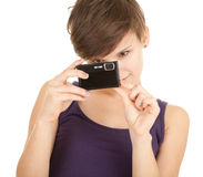 Beautiful girl taking photo Royalty Free Stock Images