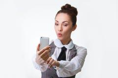 Beautiful girl taking selfie Stock Photo