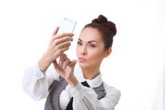 Beautiful girl taking selfie Stock Images