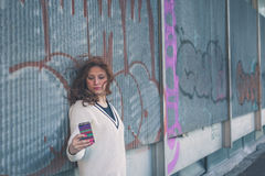 Beautiful girl taking a selfie in an urban context Stock Images