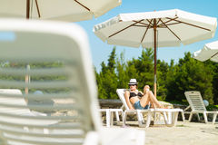 Beautiful girl taking sunbath Royalty Free Stock Image