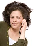 Beautiful girl talking on the phone Stock Photography