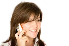 Beautiful girl talking on the phone Stock Image