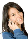 Beautiful girl talking on the phone Stock Photos