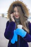 Beautiful girl talking on the phone. Stock Photo