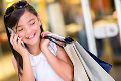 Little girl talking on the phone Royalty Free Stock Photography