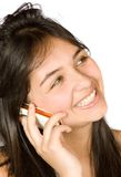 Beautiful girl talking on the phone - messy hair Royalty Free Stock Image