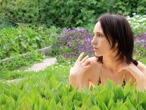 Beautiful girl tanning Royalty Free Stock Photos