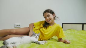 Beautiful girl teen and cat. girl cat and dog playing on friendship the bed stock video footage