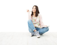 Beautiful Girl Teenager Thinking Sitting On Floor. Stock Photography