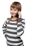 Beautiful girl with telephone in hand Royalty Free Stock Photography