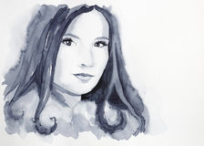 Beautiful girl with tempting eyes. (watercolor portrait royalty free illustration