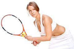 Beautiful girl with tennis racket Stock Photography
