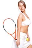 Beautiful girl with tennis racket Royalty Free Stock Photography