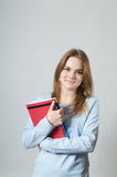 Beautiful girl with textbooks Stock Photos