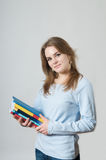 Beautiful girl with textbooks Royalty Free Stock Images
