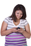 Beautiful Girl Texting on a white bakground Stock Images