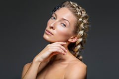 Beautiful girl with thick french braid Stock Photography