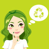 Girl Thinking Green Stock Photo