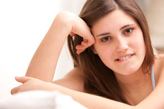Beautiful girl thinking about love Stock Photography