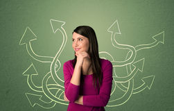 Beautiful girl thinking a solution Stock Image