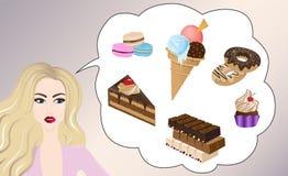 Beautiful girl thinking of sweets. Macaroons, ice cream, donuts, chocolate, cupcake, chocolate cake Stock Photo