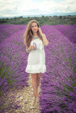 Beautiful girl with a thoughtful look on a lavender field Royalty Free Stock Photography