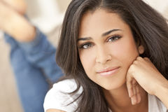 Beautiful Girl Thoughtful Young Hispanic Woman stock photo