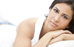 Beautiful Girl Thoughtful Young Hispanic Woman stock photos