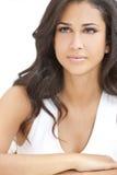 Beautiful Girl Thoughtful Young Hispanic Woman royalty free stock images